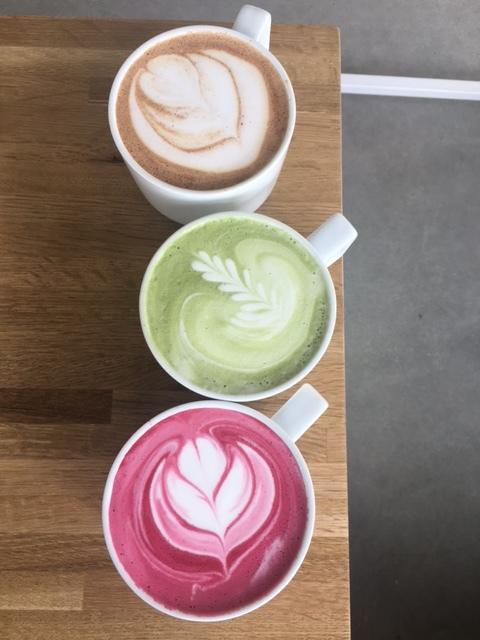 Beet Latte, Matcha Green Tea Latte & Carrot and Ginger Chai