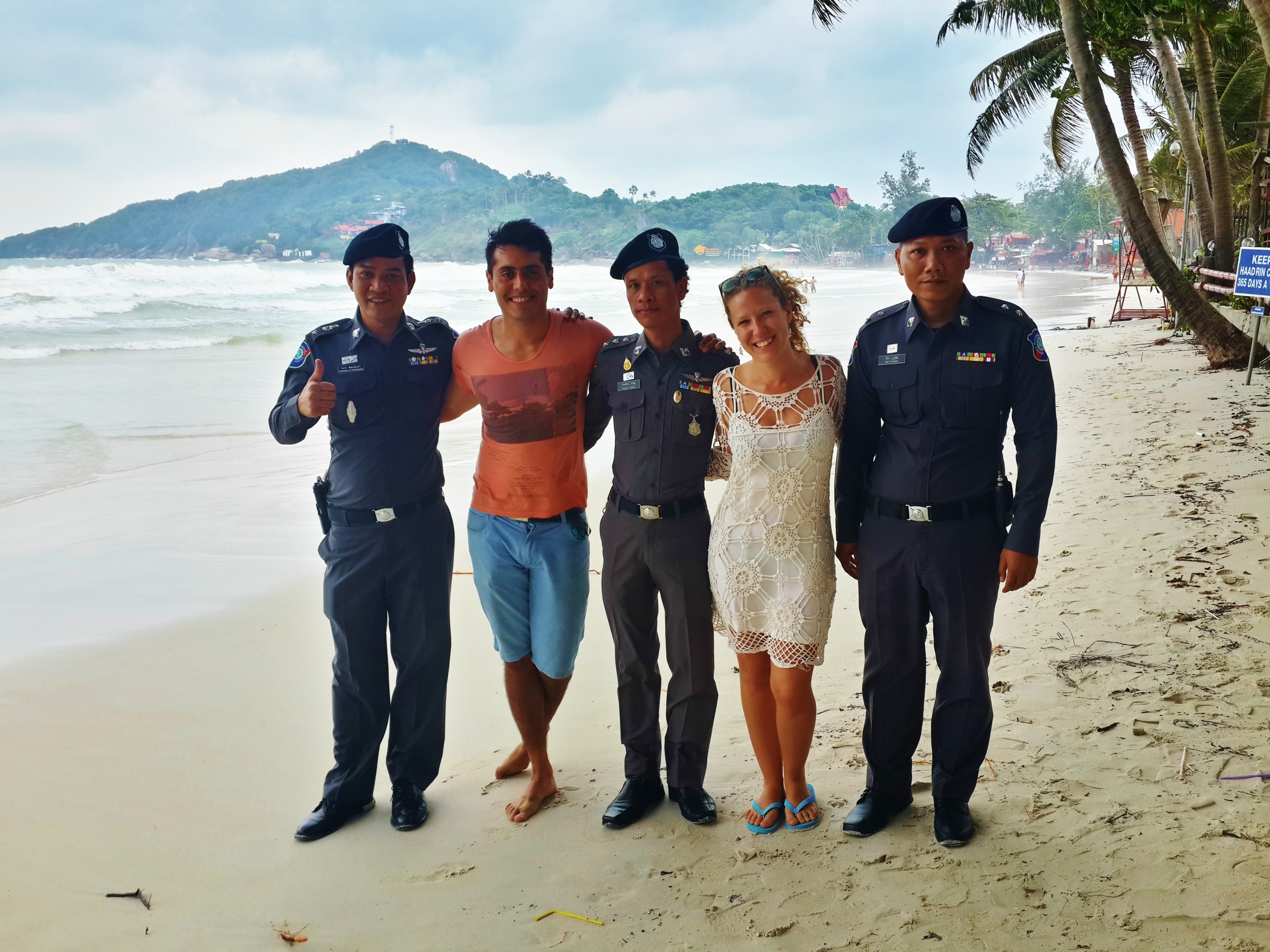 Friends, travelers and police officers of Thailand