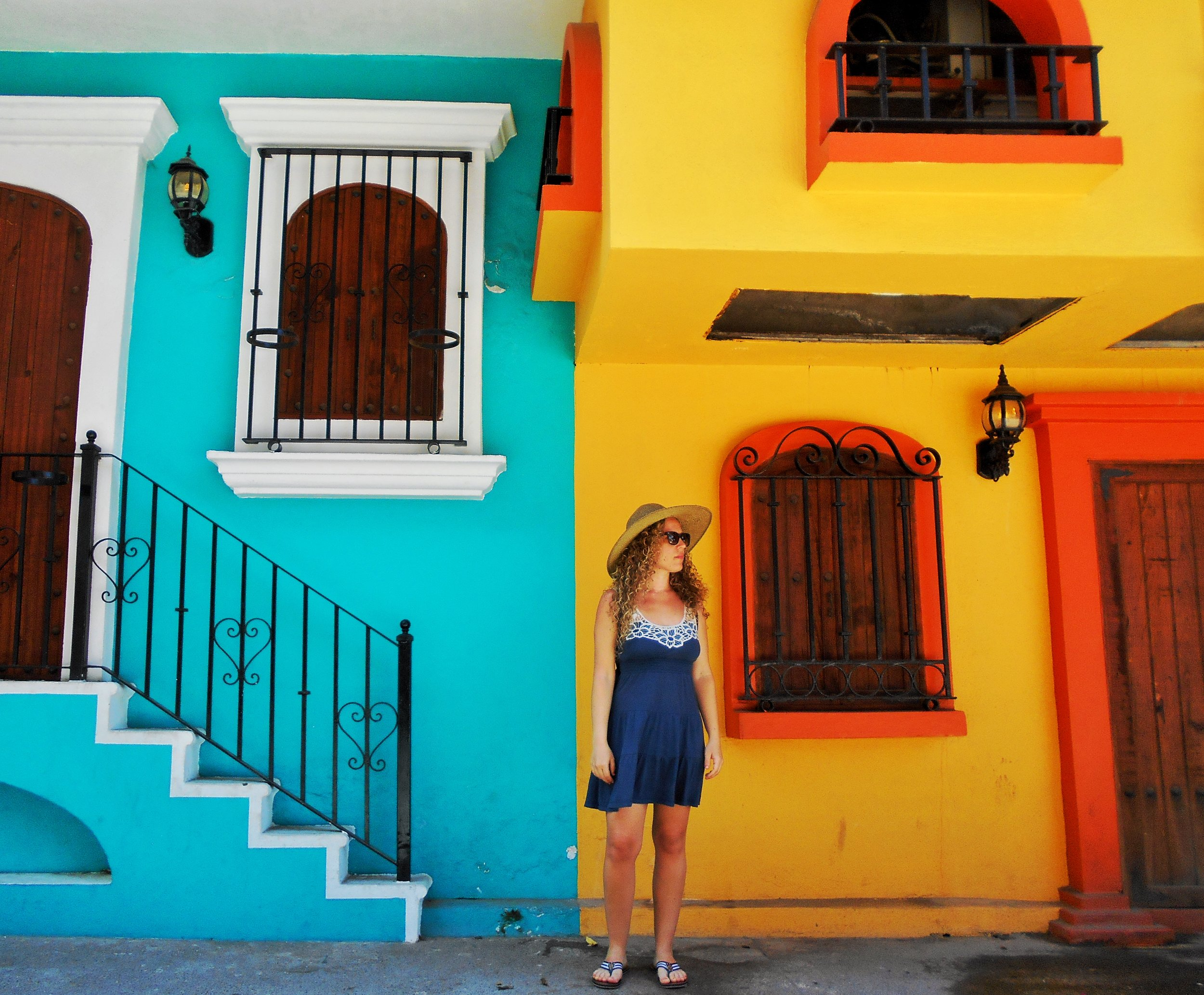 Bright contrasting colors of locals houses in downtown Puerto Vallarta