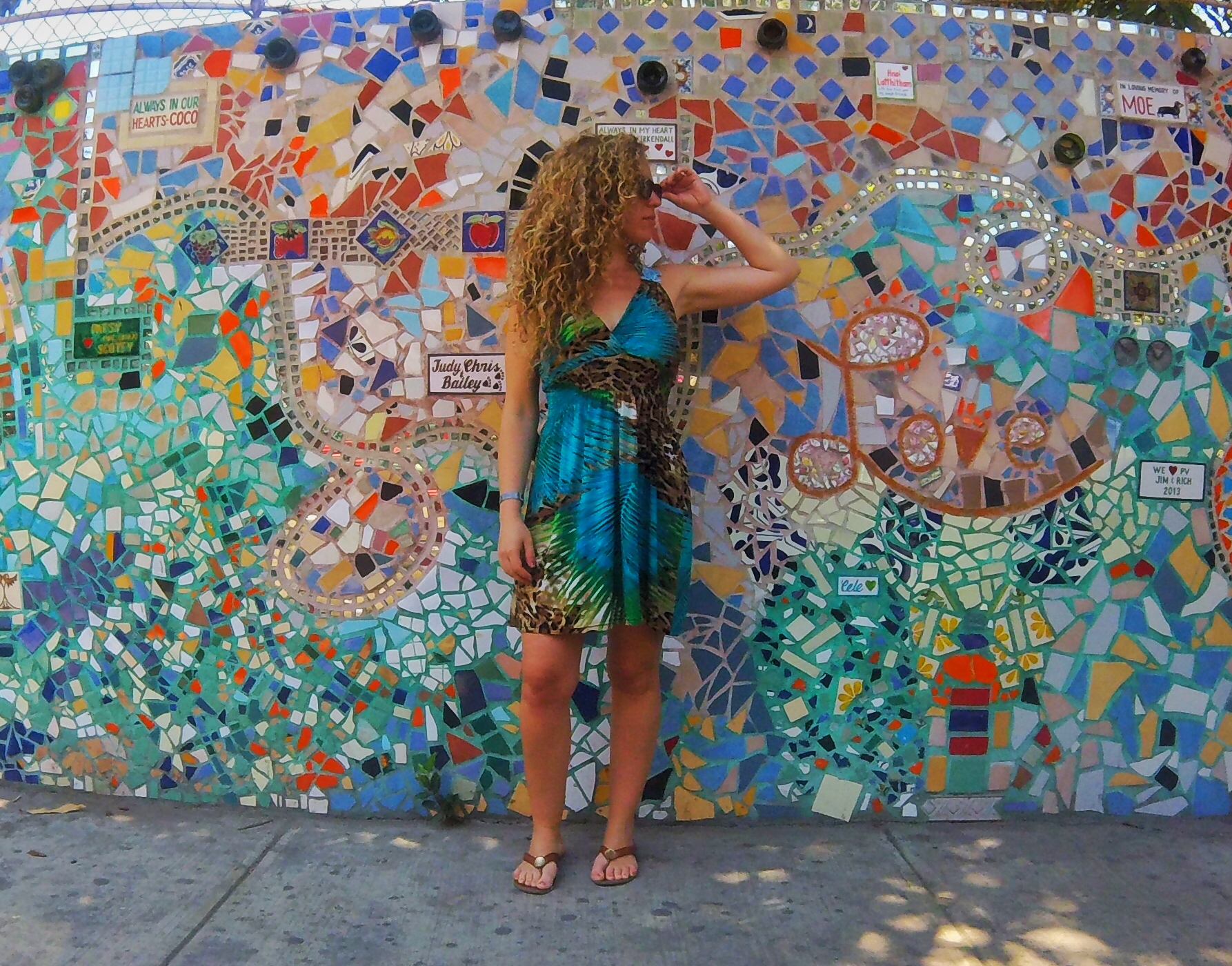 "A ""Self-less Selfie"" by a local mosaic art wall, downtown Puerto Vallarta, Zona Romantica"
