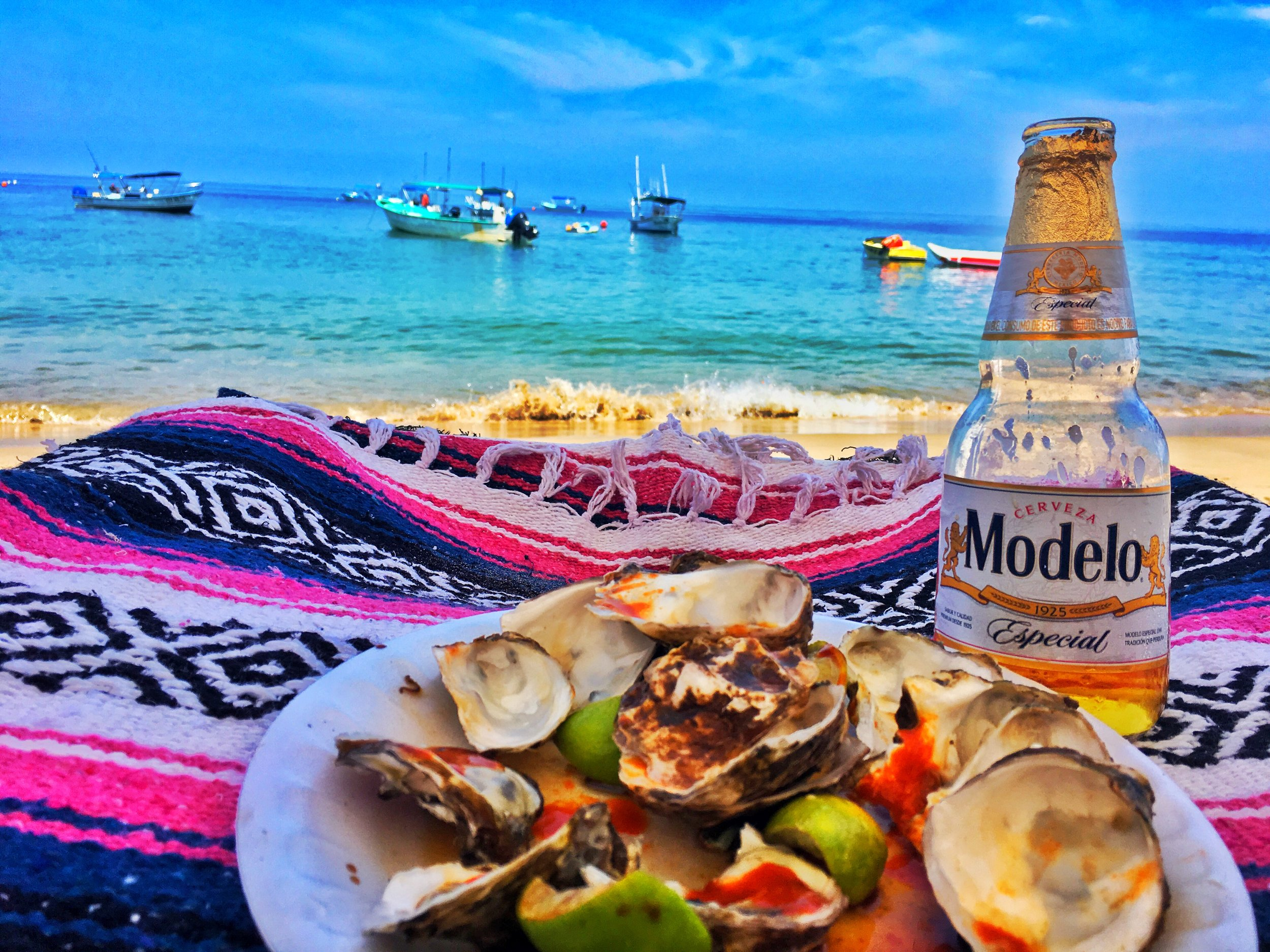 Oyesters on the rocks & ice cold beer delivered to your ocean from blanket. Life doesn't get better.