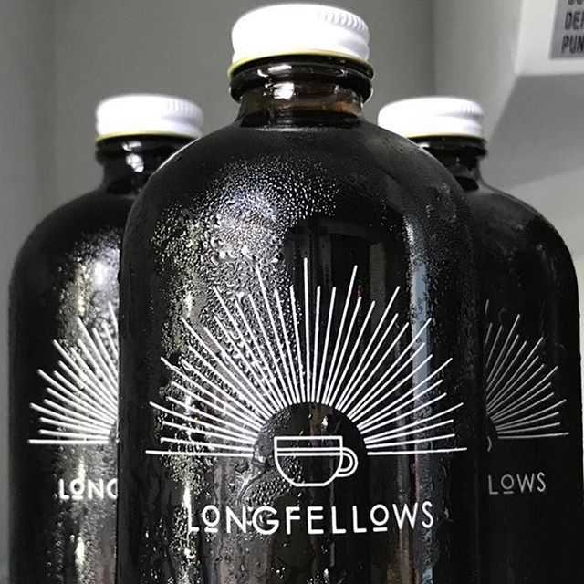 Growlers of Longfellows Cold Brew pair perfectly with this summery weather! ✨💦☕️✨Plus, our 16oz and 32oz reusable glass growlers are just $1.00 and make a wonderful memento of this community space. Stop by and pick one up — limited stock remain. 💗 #coldbrewcoffee #coffeegrowler #cafebranding