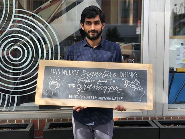 Our Beverage Director Sanjeev's pick for a go-to Signature Drink? The Grasshopper — that's a delish Iced Mint Matcha Latte with Chocolate! ✨🍃🍫✨ And honestly, nothing could pair better with this weather. Hope to see you soon! #longfellows #stafffeature #matcha