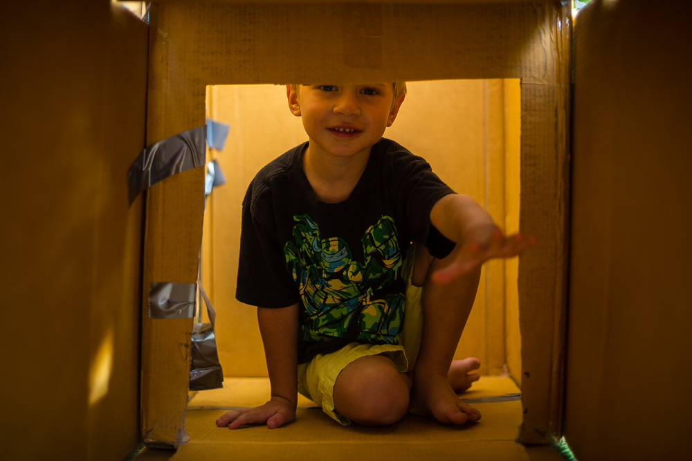 LIz builds a fort with her nephews, and niece at our Mayfield Ave., home in Akron, Ohio.