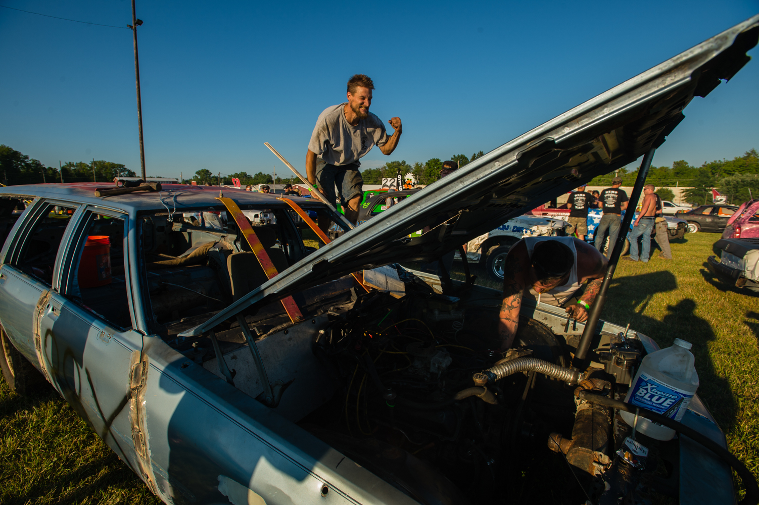 After nearly twelve straight hours of repair to get the car prepped before race time in Ohio, Jason Brasly reacts to a successful ignition by his boss, Kurt Meister. The vehicle had been donated by Brasly's girl friend, whom was looking to get rid of three vehicles.