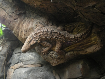 Carving of alligator on the Tree of Life in Animal Kingdom