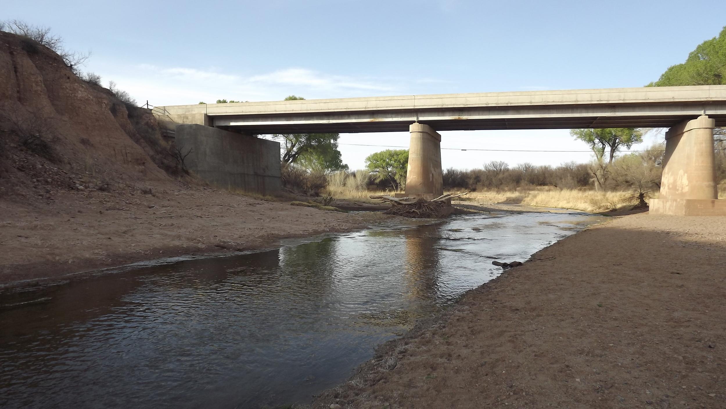 San Pedro River and Sand Pedro Riparian under highway near Sierra Vista, Arizona