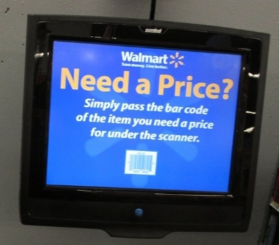 Walmart consumer price check device in use in most stores -original photo by Walmart from Yelp