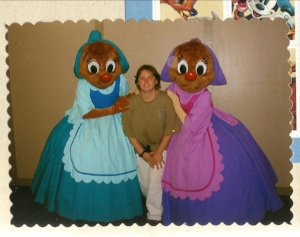The author with two characters from Cinderella - author's collection 2001