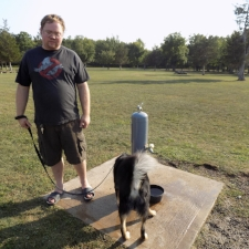Fountain at the Robert G. Wehle dog park in New York has dog bowl and lower faucet.