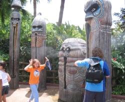 Tiki statue misters in Magic Kingdom