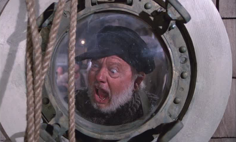 Mickey Rooney as Lampy, terrified by a braying jackass in Pete's Dragon, 1970