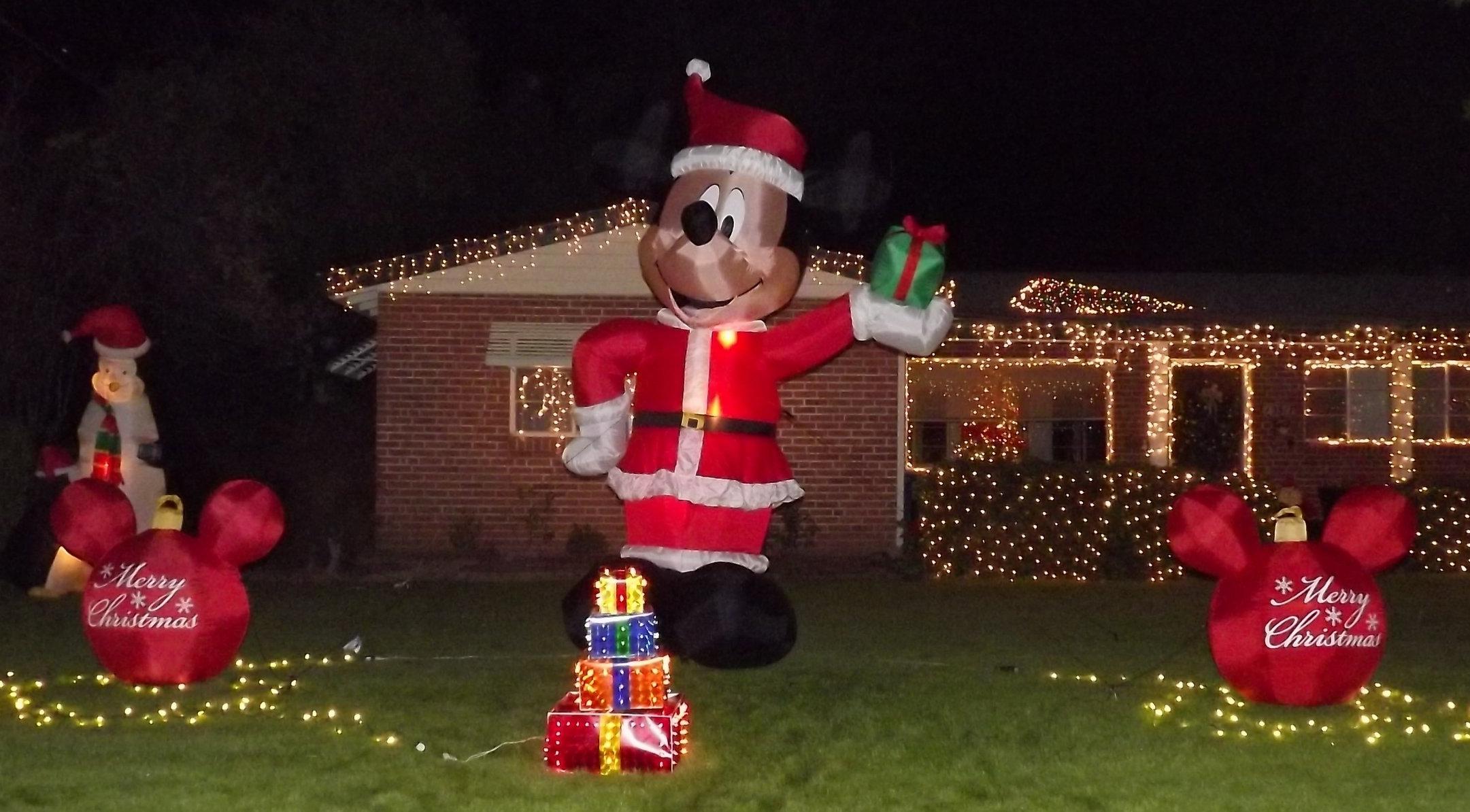Inflatable Mickey in Santa suit, Winterhaven Lights, Tucson, Arizona