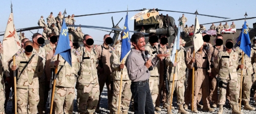 Geraldo Rivera doing a live report with Lightning Assault Soldiers in Afghanistan, 2003 or 2004
