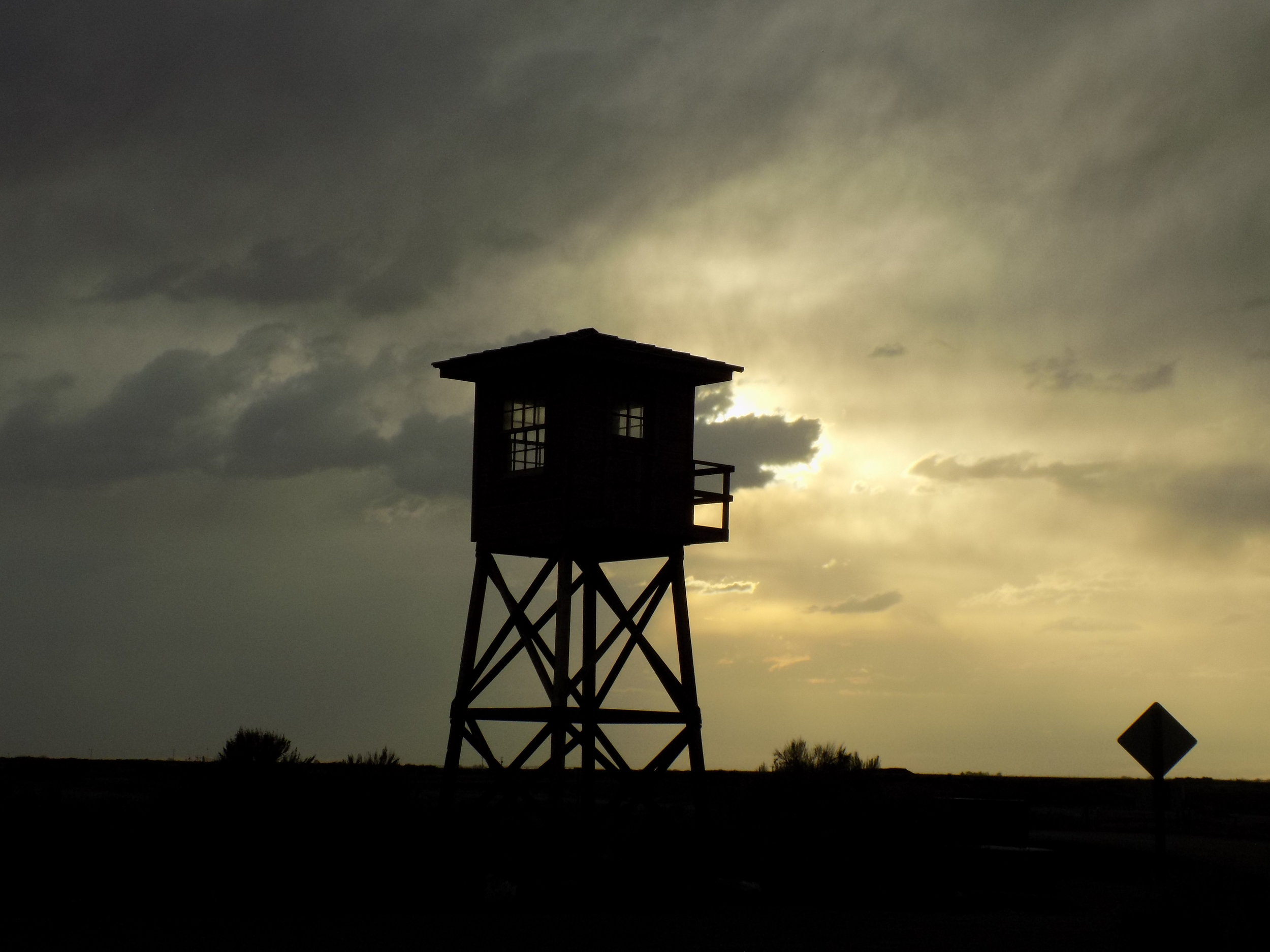 The guard tower at Minidoka Japanese-American internment camp