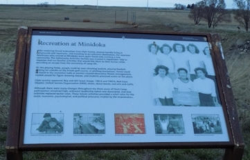 "Info board at Minidoka, ""Recreation at Minidoka"""