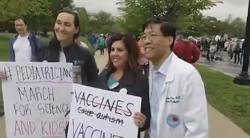 Dr. Senator Pan poses with two pediatricians who were marching for science in Washington D.C. - Still from PANdemic of Lies at the March for Science