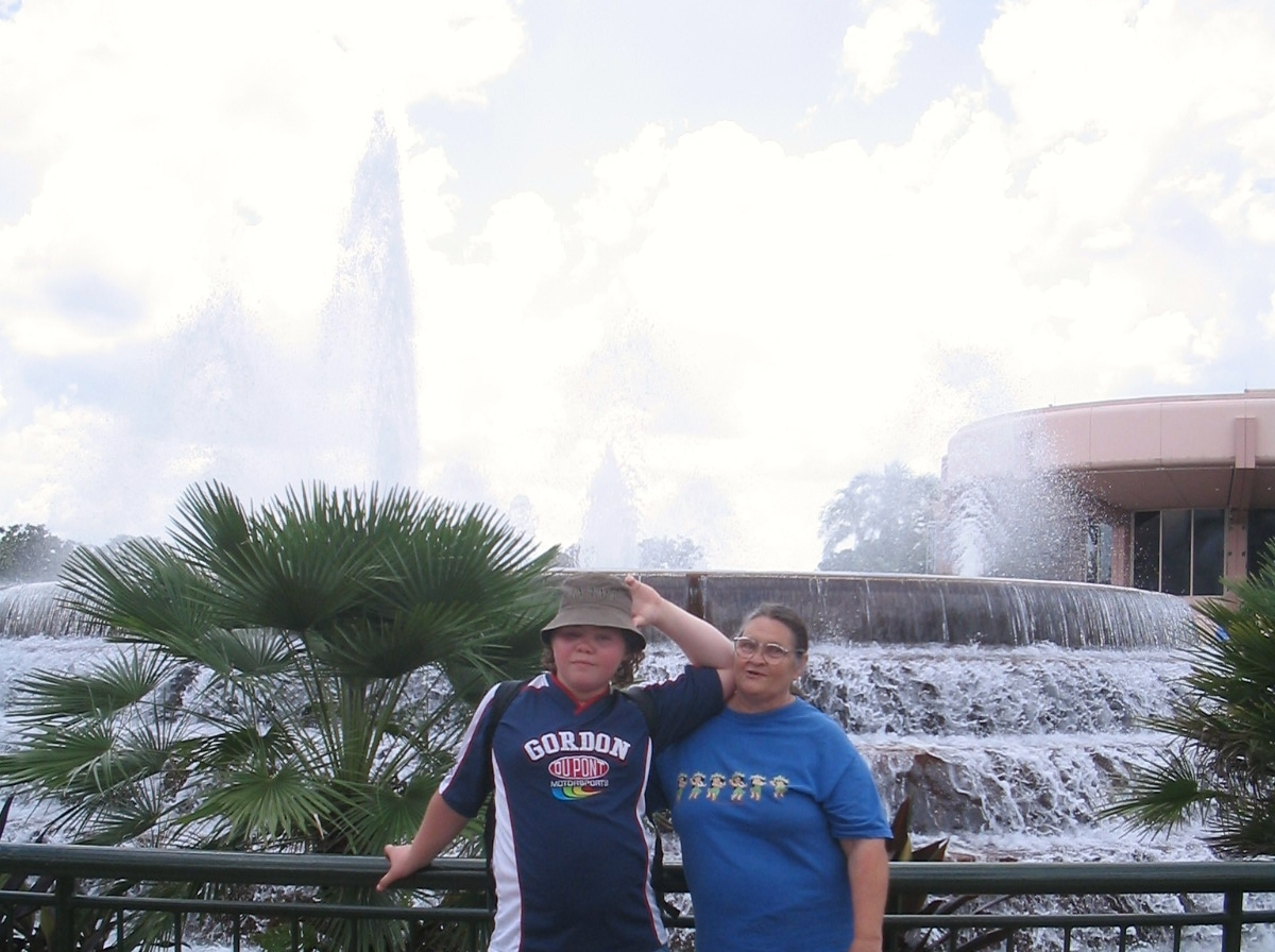 My mom and son, in Epcot