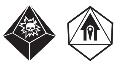 Challenge dice (left) and advantage dice (right), with the drawback and boon symbols, respectively.