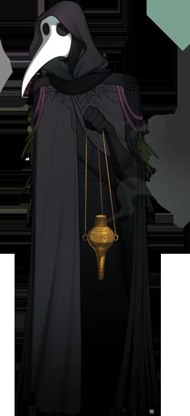 A Gravedigger assassin in plague doctor garb.