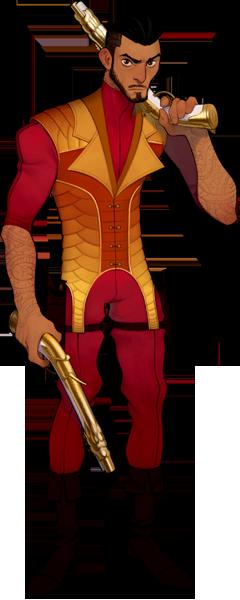 A Red Lotus Society gunslinger, flintlock pistols at the ready.