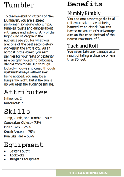 One of the v0.1 prototype cartel aspects. The Laughing Men cartel would eventually become the Mummers. In this iteration, the cartel sheet still possesses skills and there was more than one aspect for each cartel.