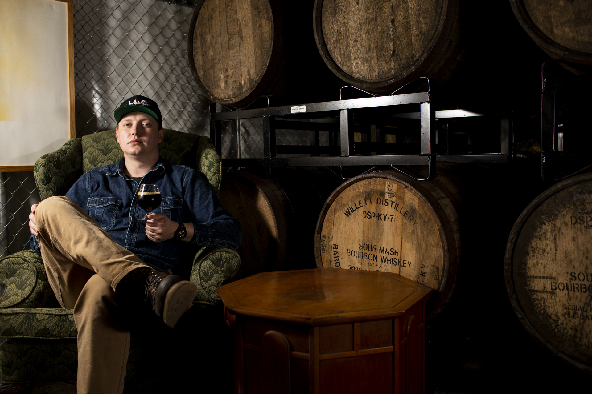 Jackie O's Brewery Head Brewer Seth Morton poses for a portrait, April 18, 2019, at the Jackie O's Barrel Warehouse in Athens, Ohio.