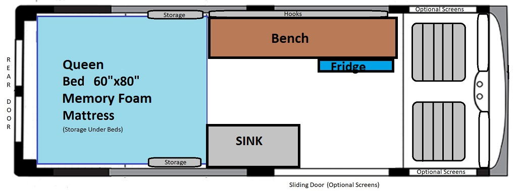 (Note: Seating for 2 can be added at time of reservation, but bench is removed.)