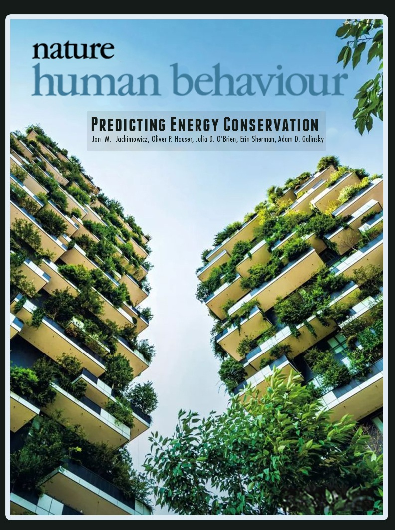 "Our paper ""The critical role of second-order normative beliefs in predicting energy conservation"" made the front cover of  Volume 2, Issue 10  of  Nature Human Behaviour ."