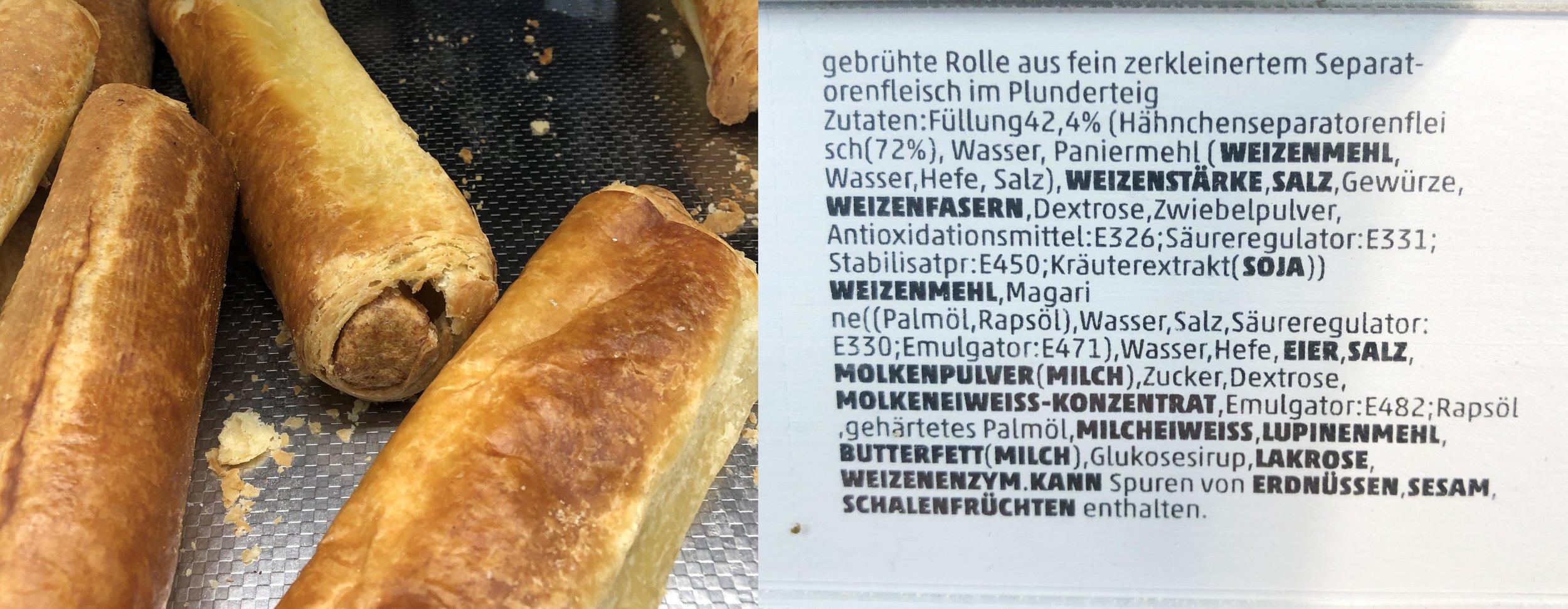 Gefunden im Discounter: Separatorenfleischrolle mit üppigem Zusatzstofforchester.
