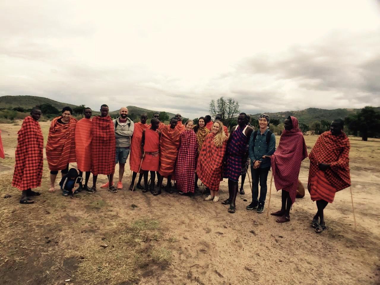 Safari team & Masai village people