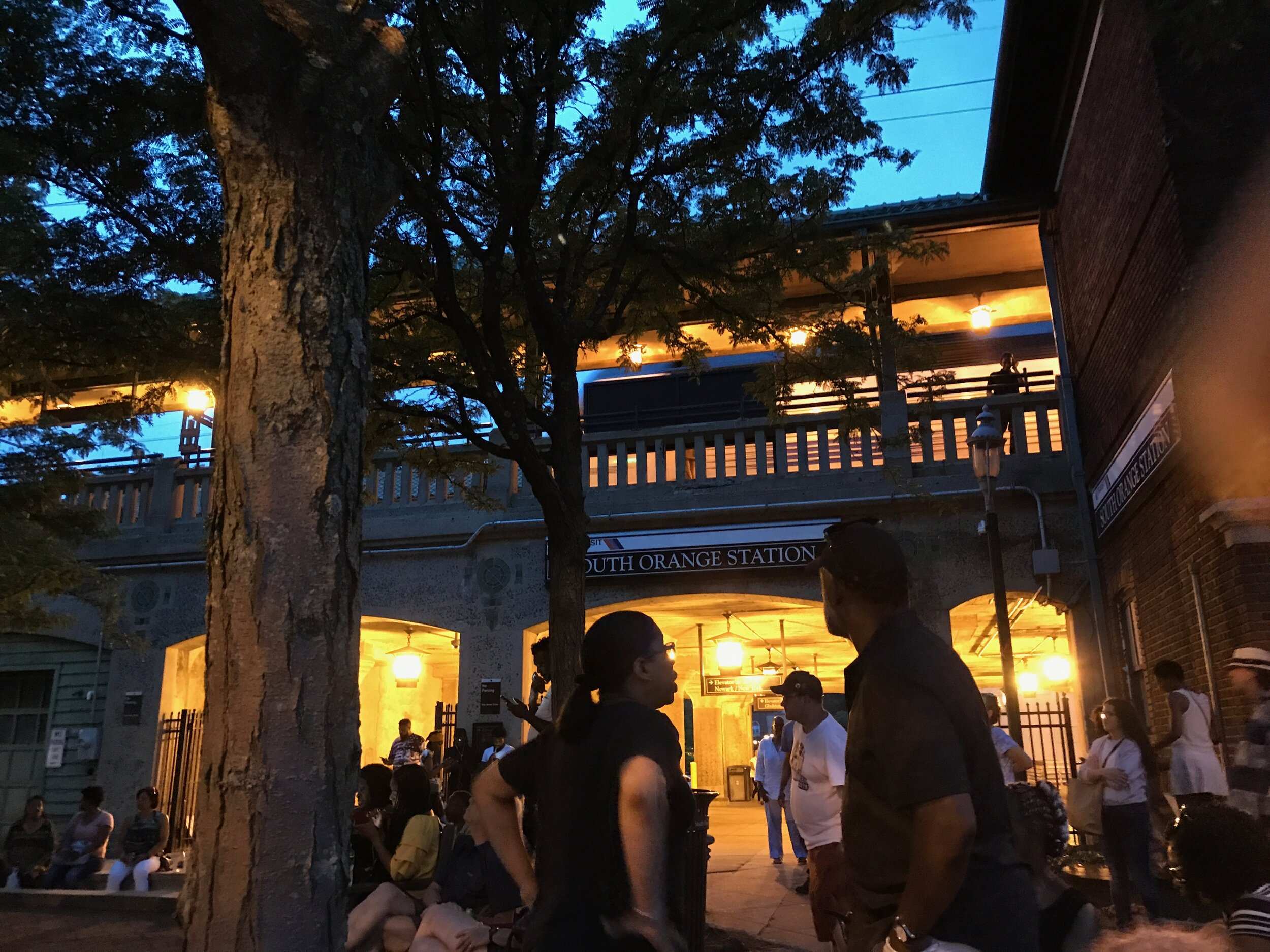 Historic Village of South Orange train station at dusk. We'll arrive there around 12:30 PM and take the train to Midtown in Manhattan.