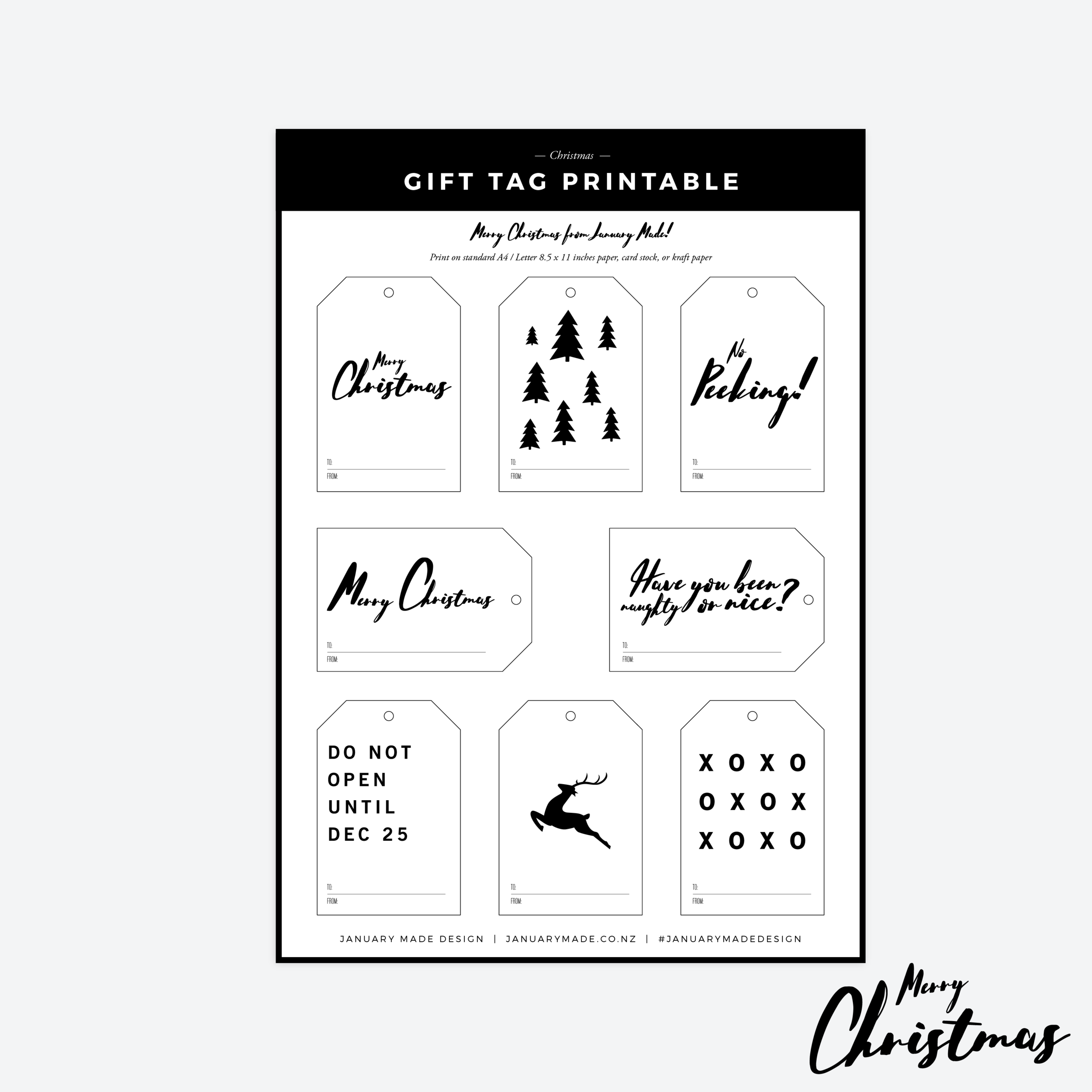 image relating to Printable Christmas Tags Black and White titled Free of charge Reward Tag Printable for a Minimalist Xmas January