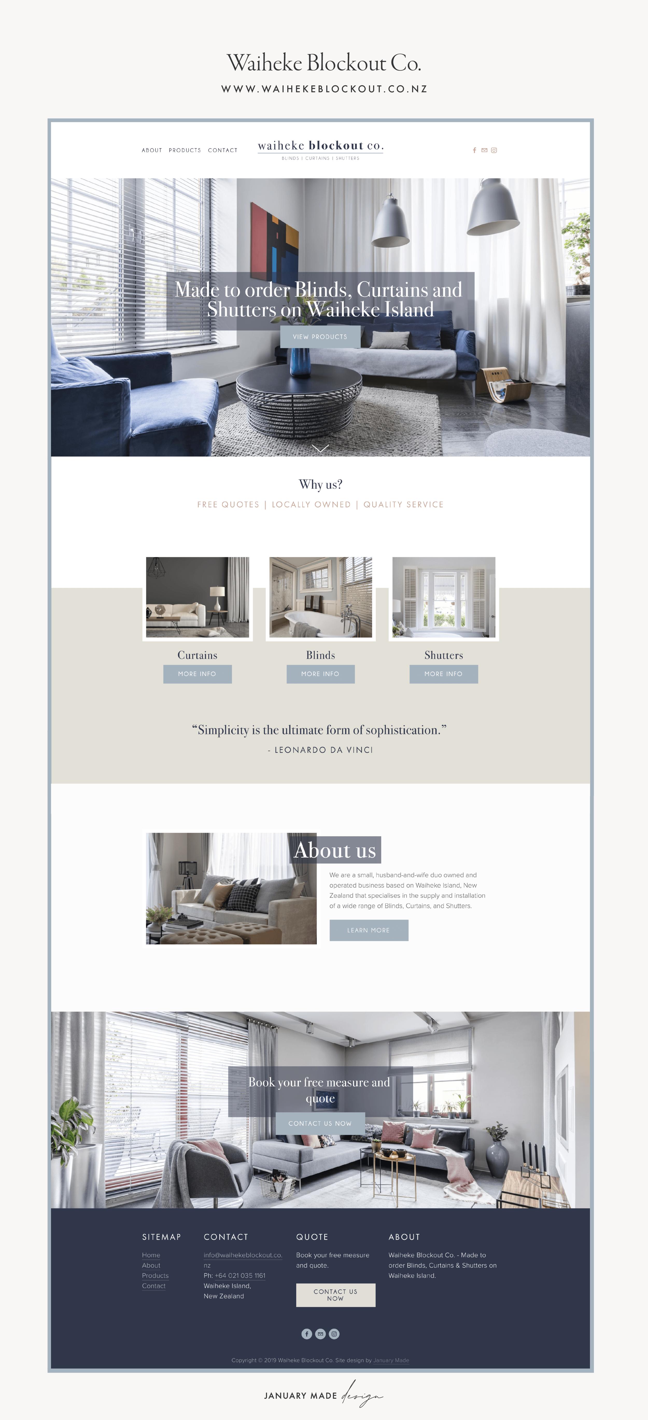 Waiheke Blockout Co. Website by January Made Design