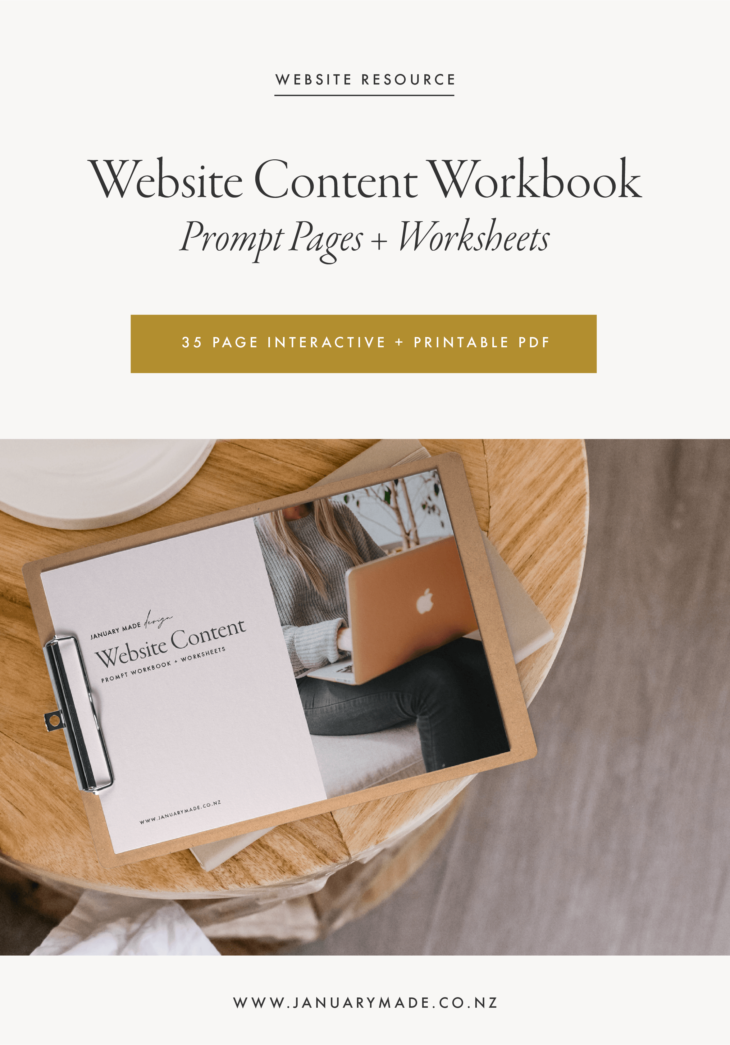 Website Content Prompt Workbook - By January Made Design