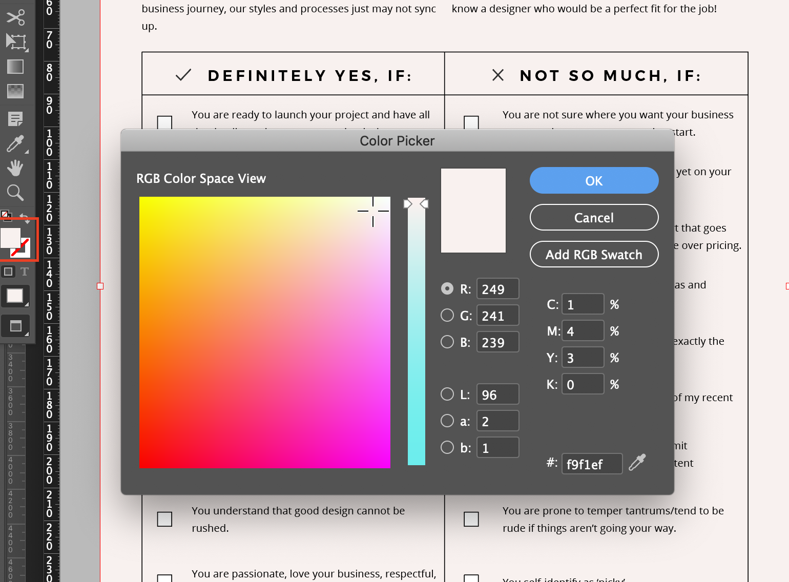 Click the Fill box to open up the Colour Picker window. Add your branding hex code here.