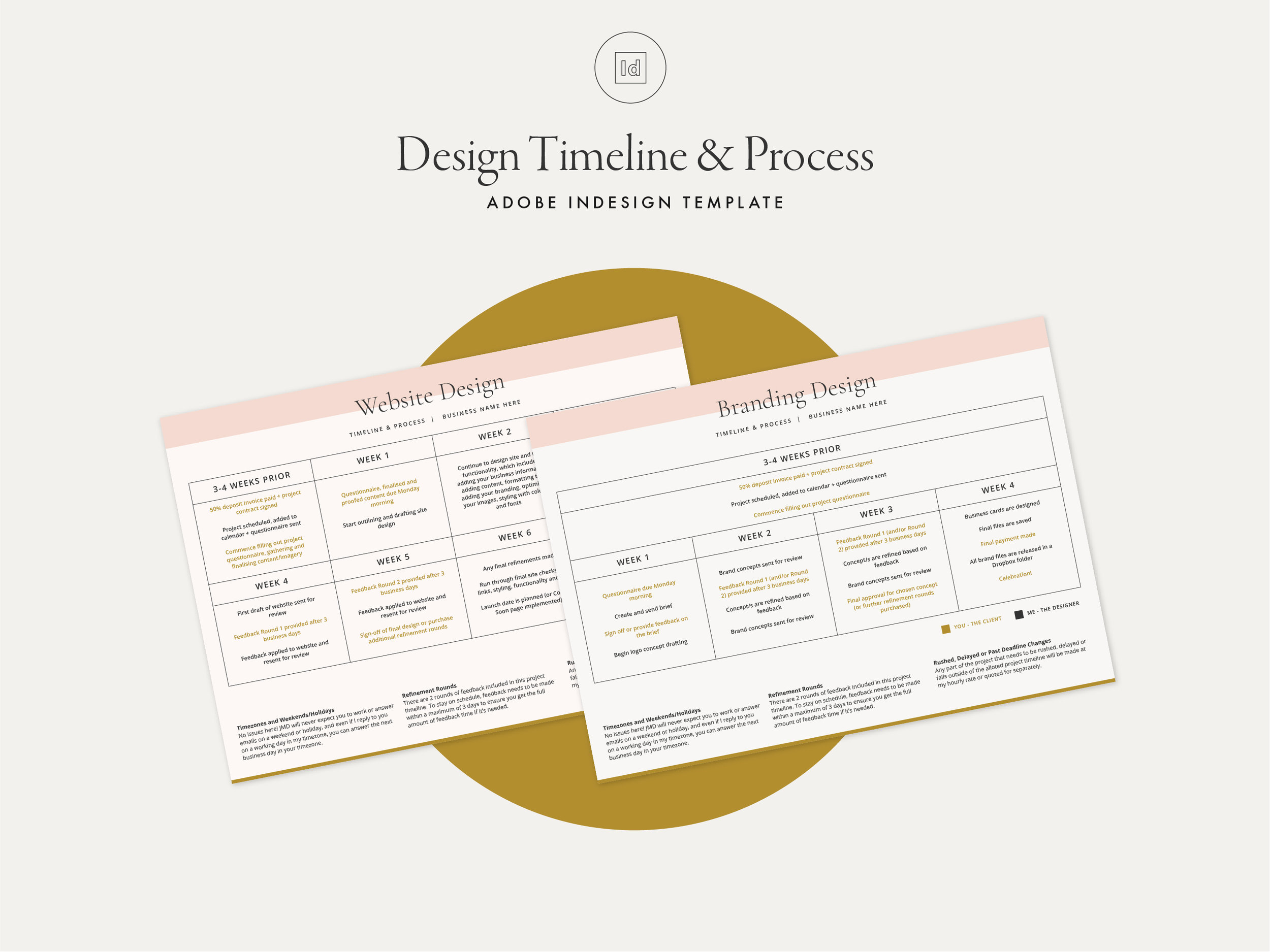 Process & Timeline Indesign Template - 2 x editable Indesign templates that can be customised to your own branding and style!