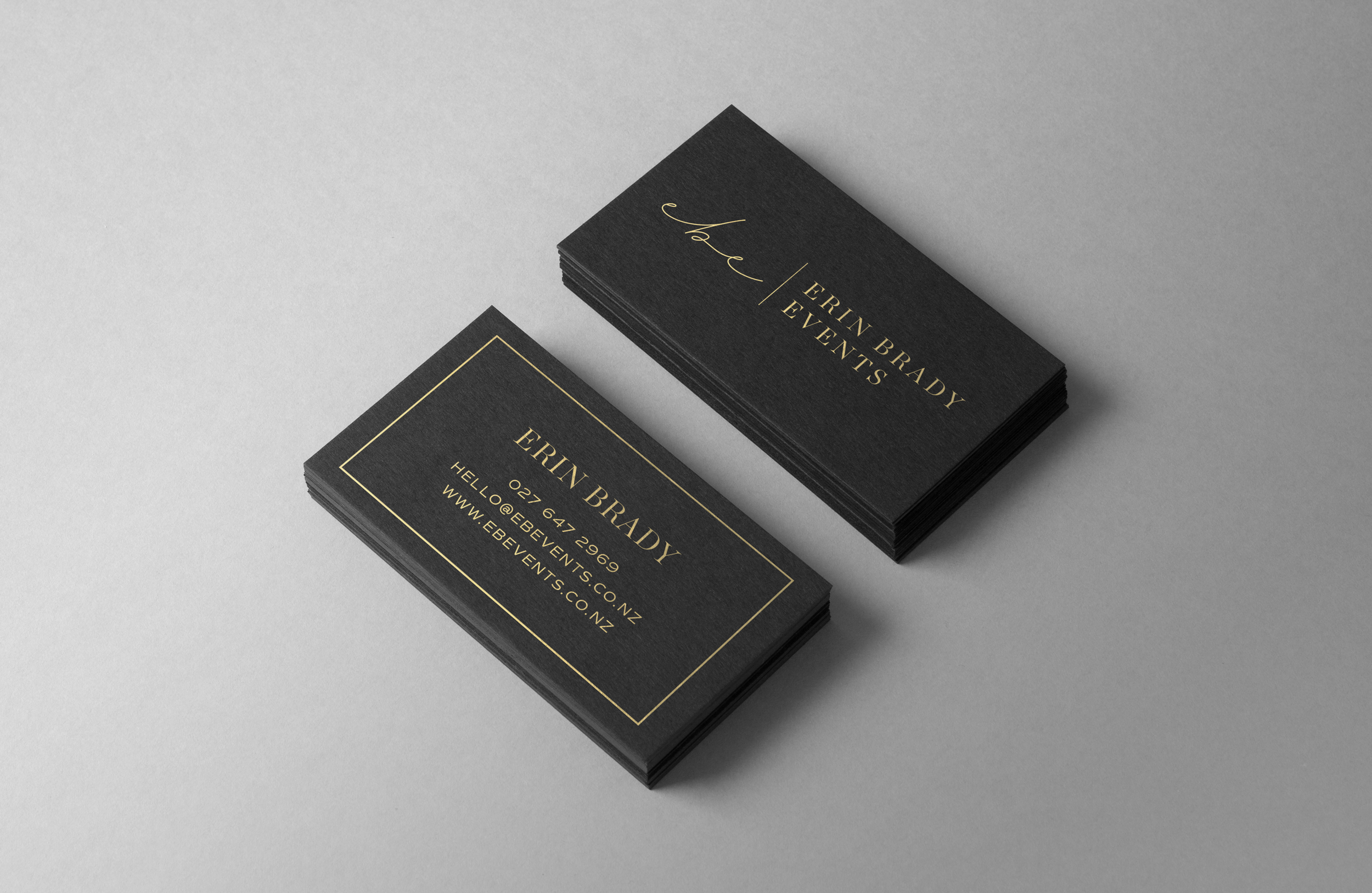 Erin Brady Events business cards - by January Made Design