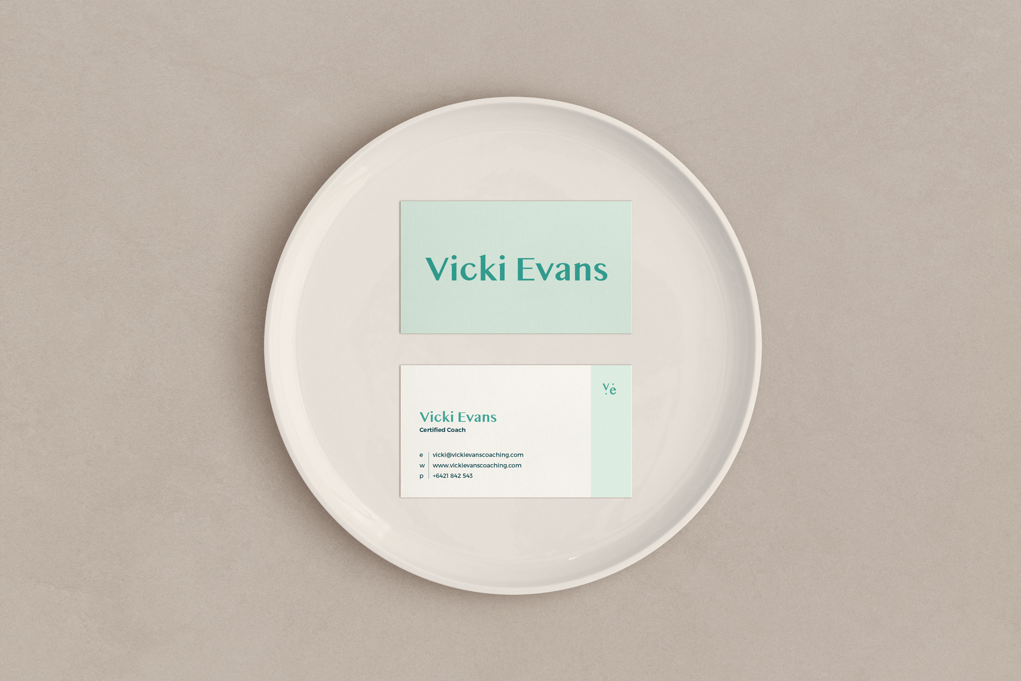 Vicki Evans Coaching business cards - by January Made Design