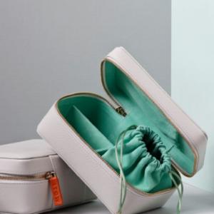 Amelia leather jewellery travel case, photo courtesy of Stow London