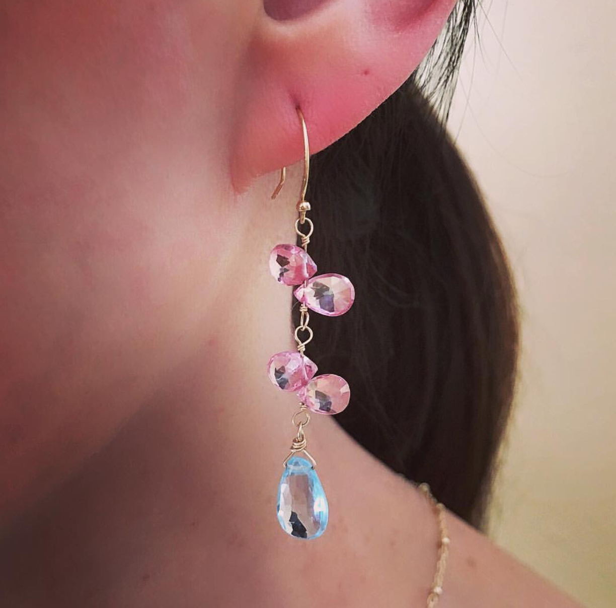 DePanthera Pink & Blue Topaz Earrings