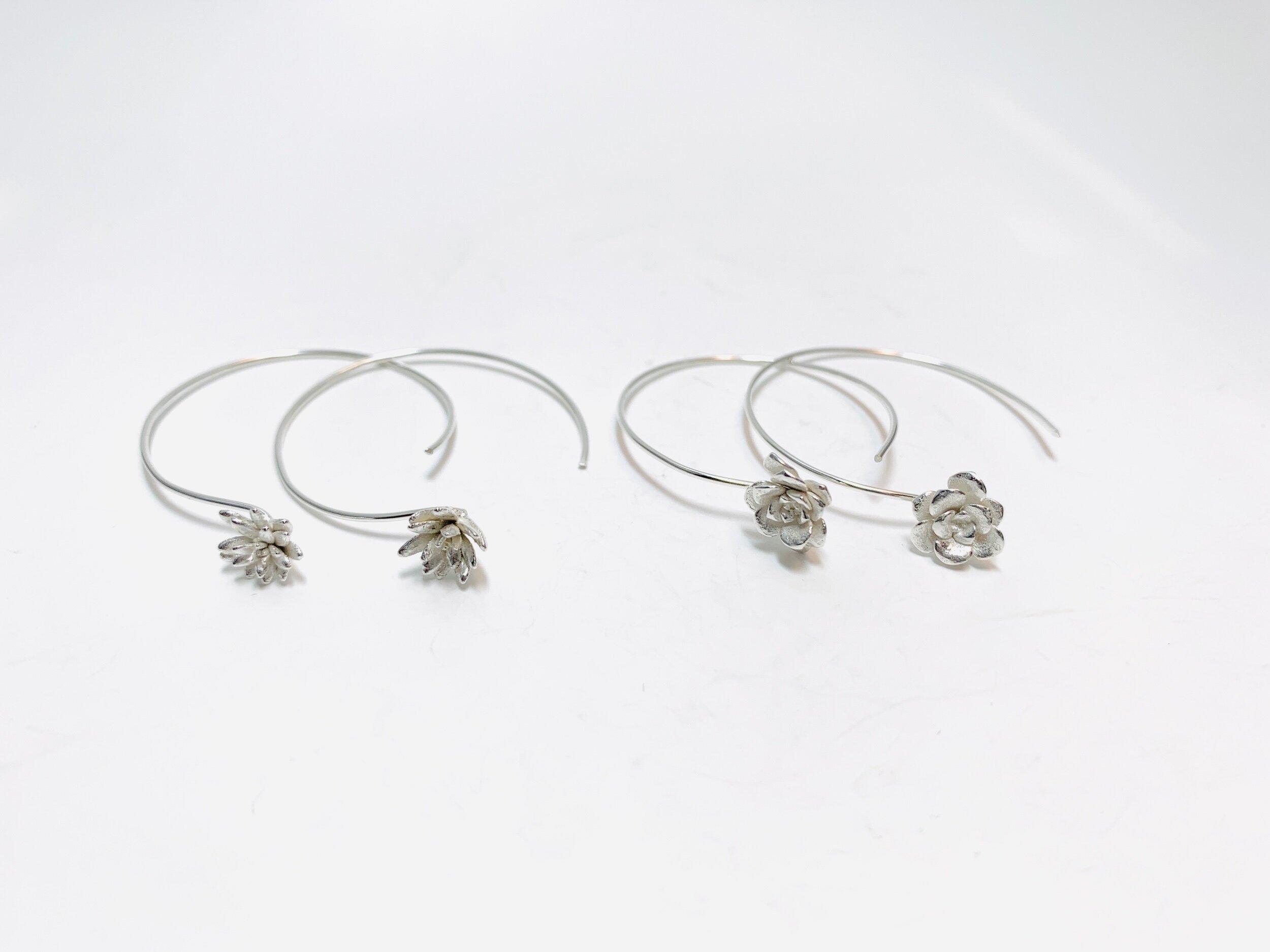 Succulent Hoop Earrings