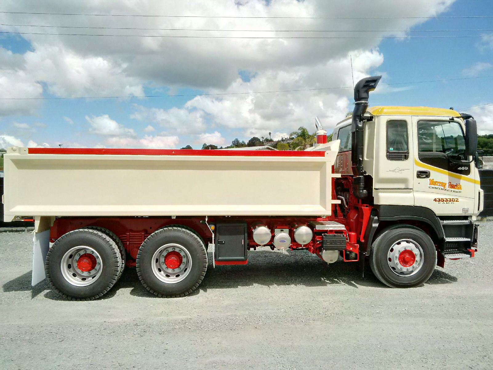 4.8m Hardox Tipper Body fitted to new Isuzu CXZ400 - extras include toolbox, water tank, chrome exhaust surround & Ringfeeder with pintle hook