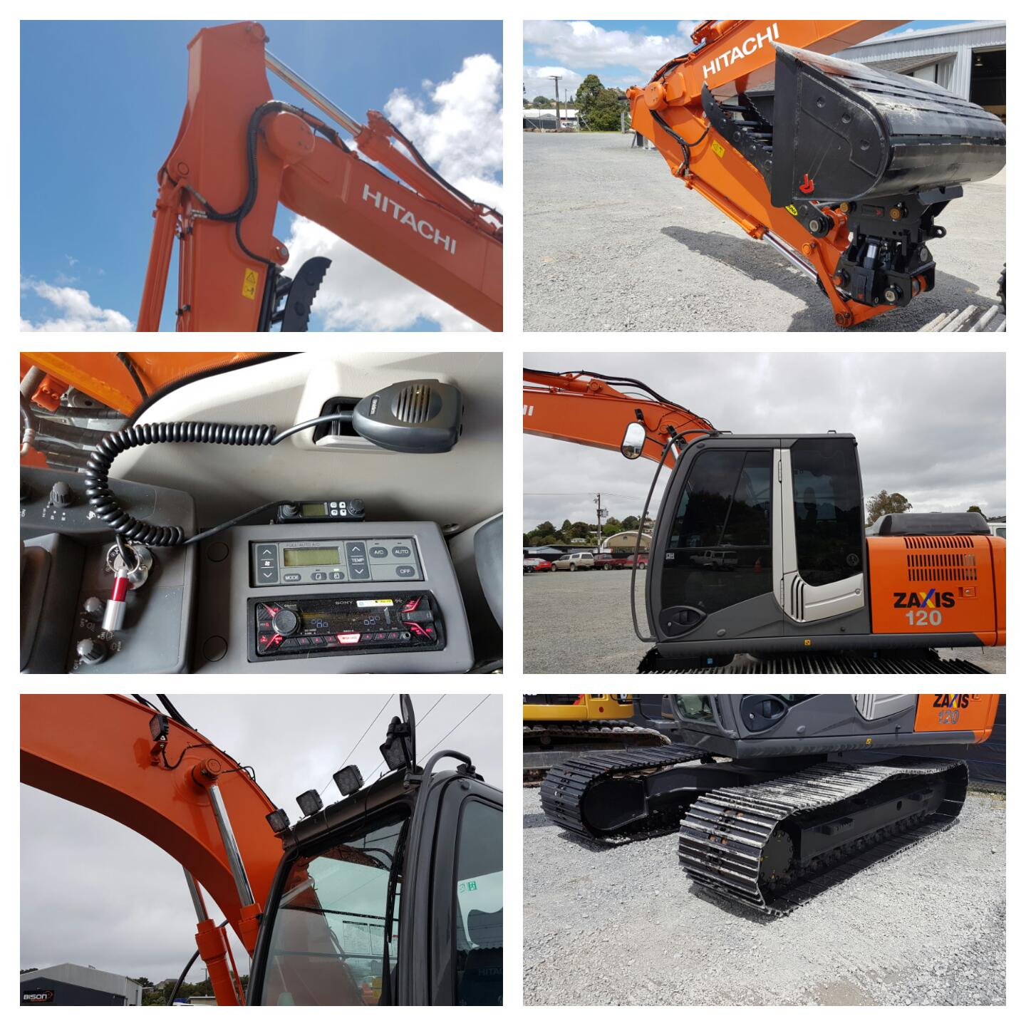 2013 ZX120-3 Fit-up - Tints, LED worklamps, 700mm Grousers, CB radio & Bluetooth stereo, Isolator switch, Knapp Thumb & Robur Tilt Hitch + Wide Bucket!
