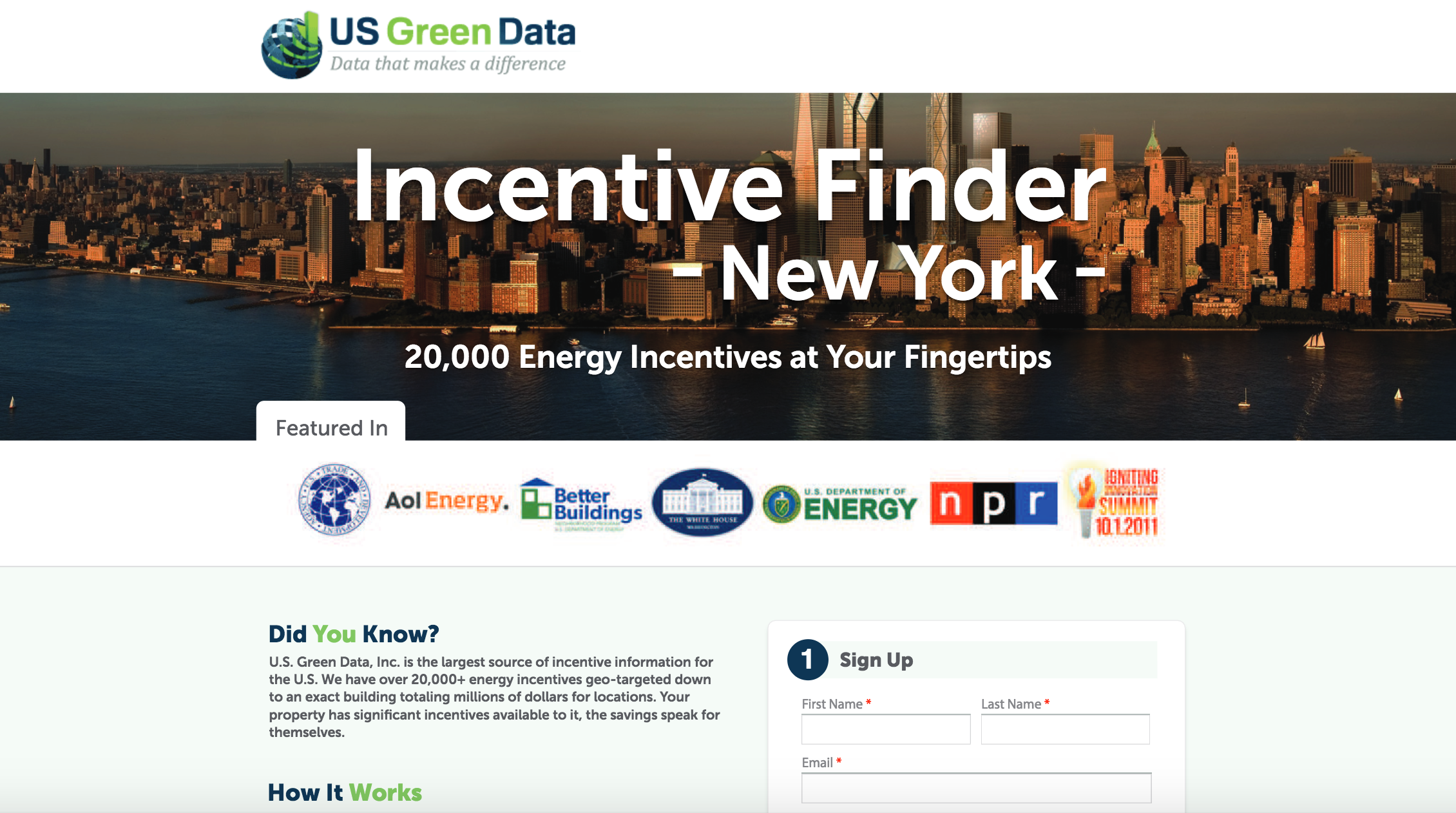 US Green Data Web Design