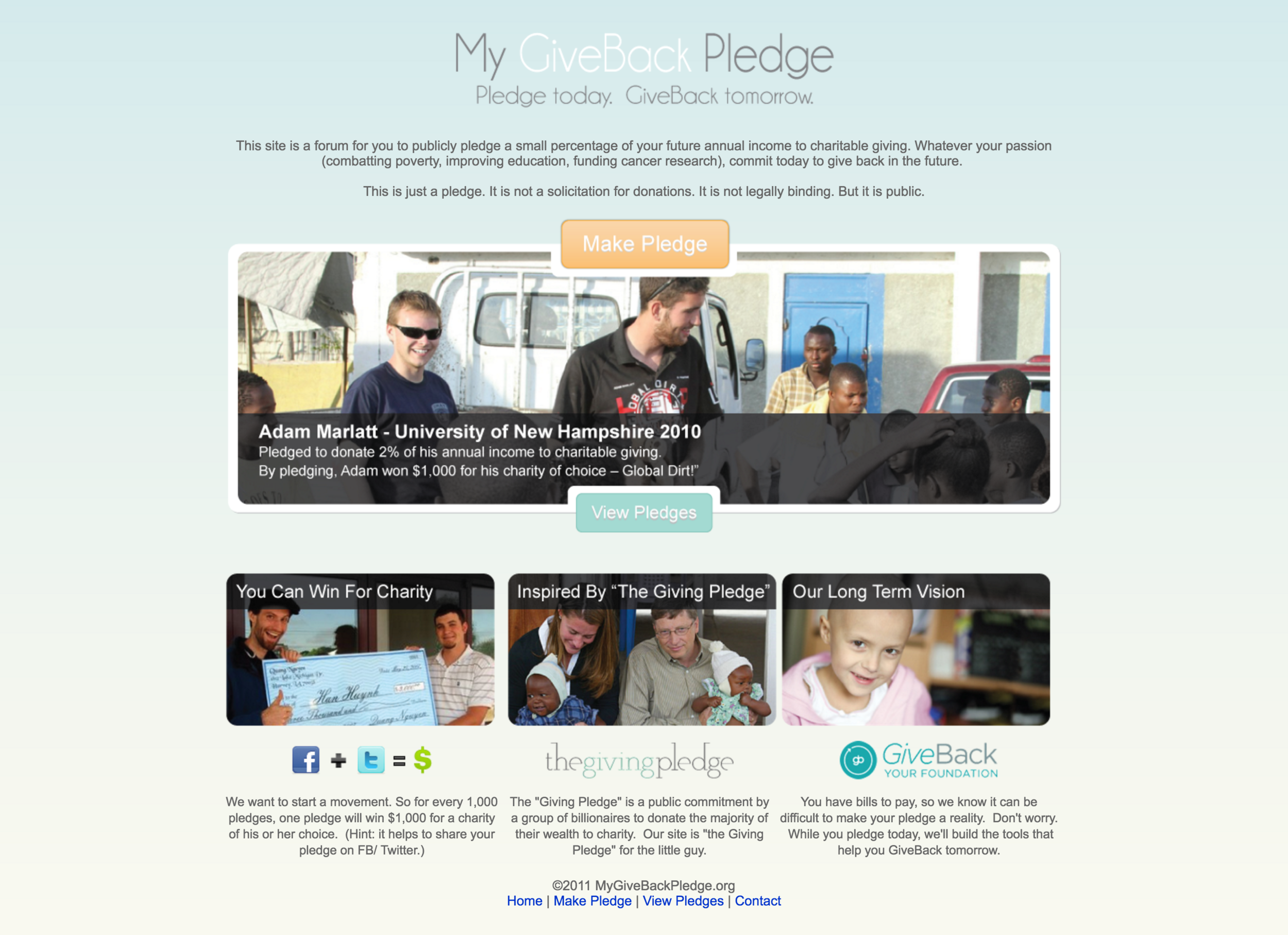 My Giveback Pledge Web Design and Front-End Engineering