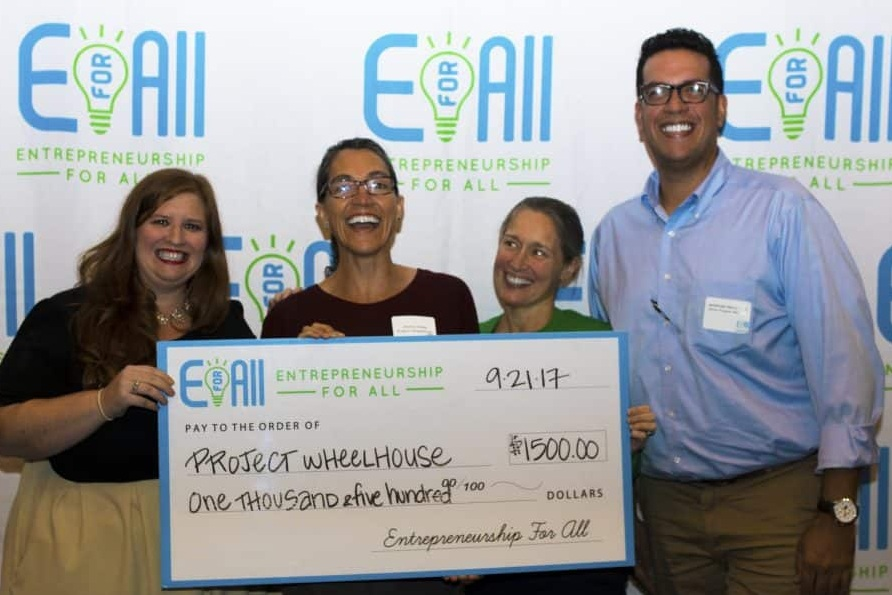 (l to r) Shelley Cardoos from EforAll, PWH Founding Director Jessica Webb, PWH mentor Angela Johnston, and Jeremiah Hernandez from EforAll.