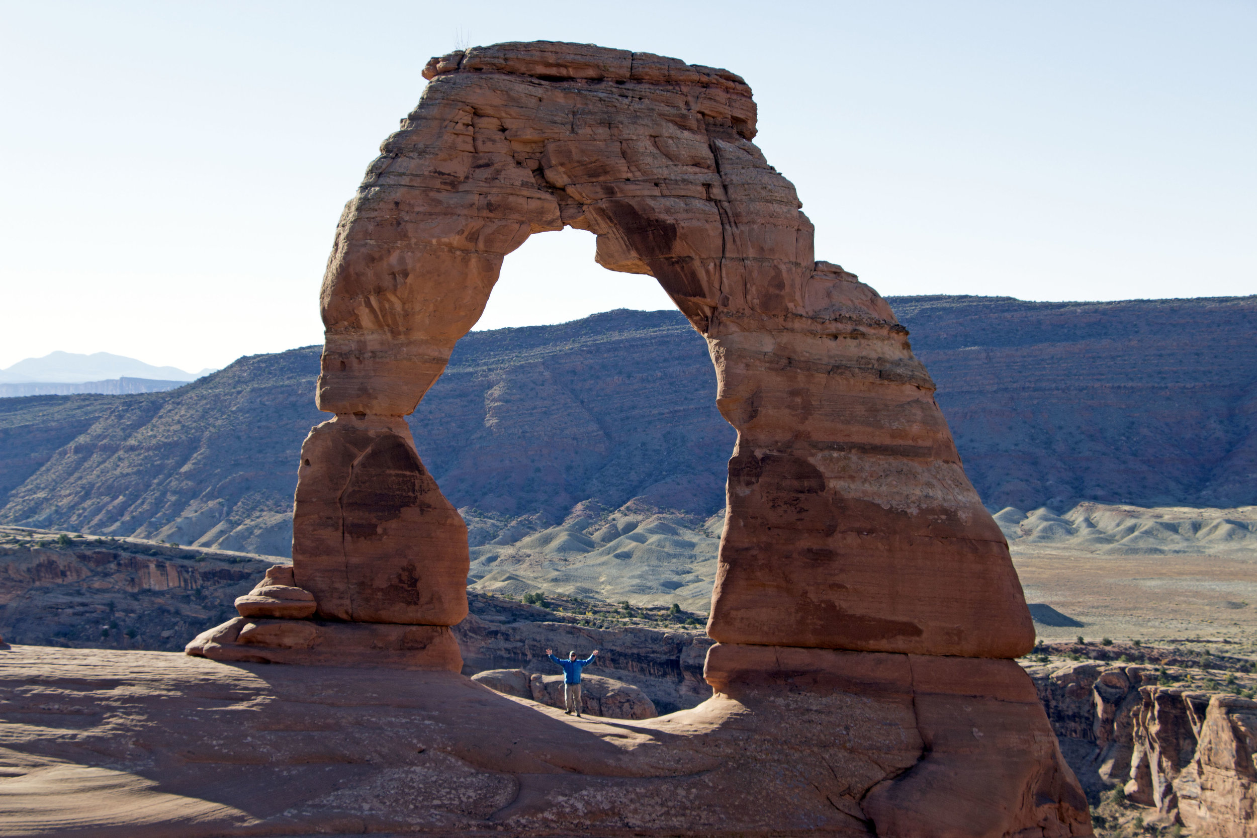 It wasn't very crowded in Arches during our Mid-October trip. We didn't have to wait long for our own photo ops with the Arch.