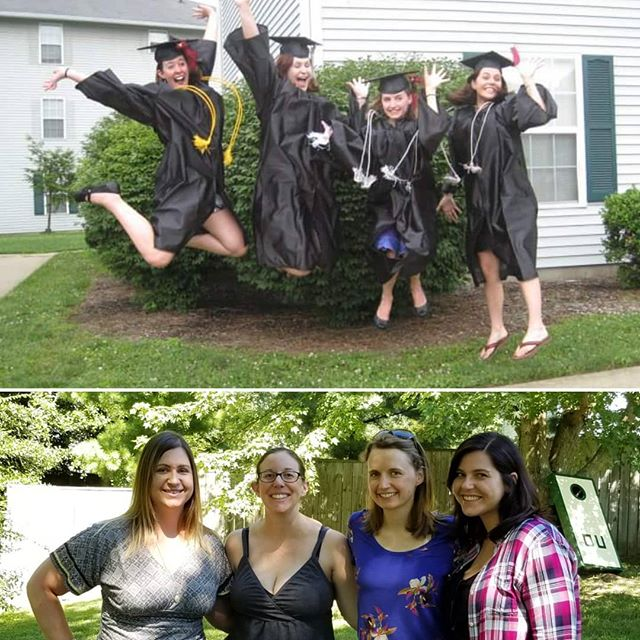There's nothing quite like seeing your college roommates again. These girls are fierce, smart and talented! Plus, we make the best Disney/Pixar trivia team you will ever find.  Top pic: 2010 Bottom pic: 2018  #ohioalumni #ohiogirls #ohiou