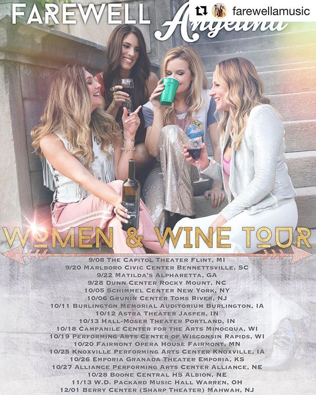 So excited to announce my new band... & the crazy busy Fall we are having on tour! Would love to see my friends/family at a show! 😍 More to come in 2019! Follow our page . #Repost @farewellamusic ・・・ Women & Wine Tour Part 1! ✨ ... see you at a show. • • • • • #farewellfamily #farewellangelina  #womenandwine  #tour #part1 #wine #girlband #usa #sing #play #wowvocals #twinfiddles #accoustic #girls #winelover #winetourism #concert #live #guitars #travelgram #touringband #singers #blend #chicks
